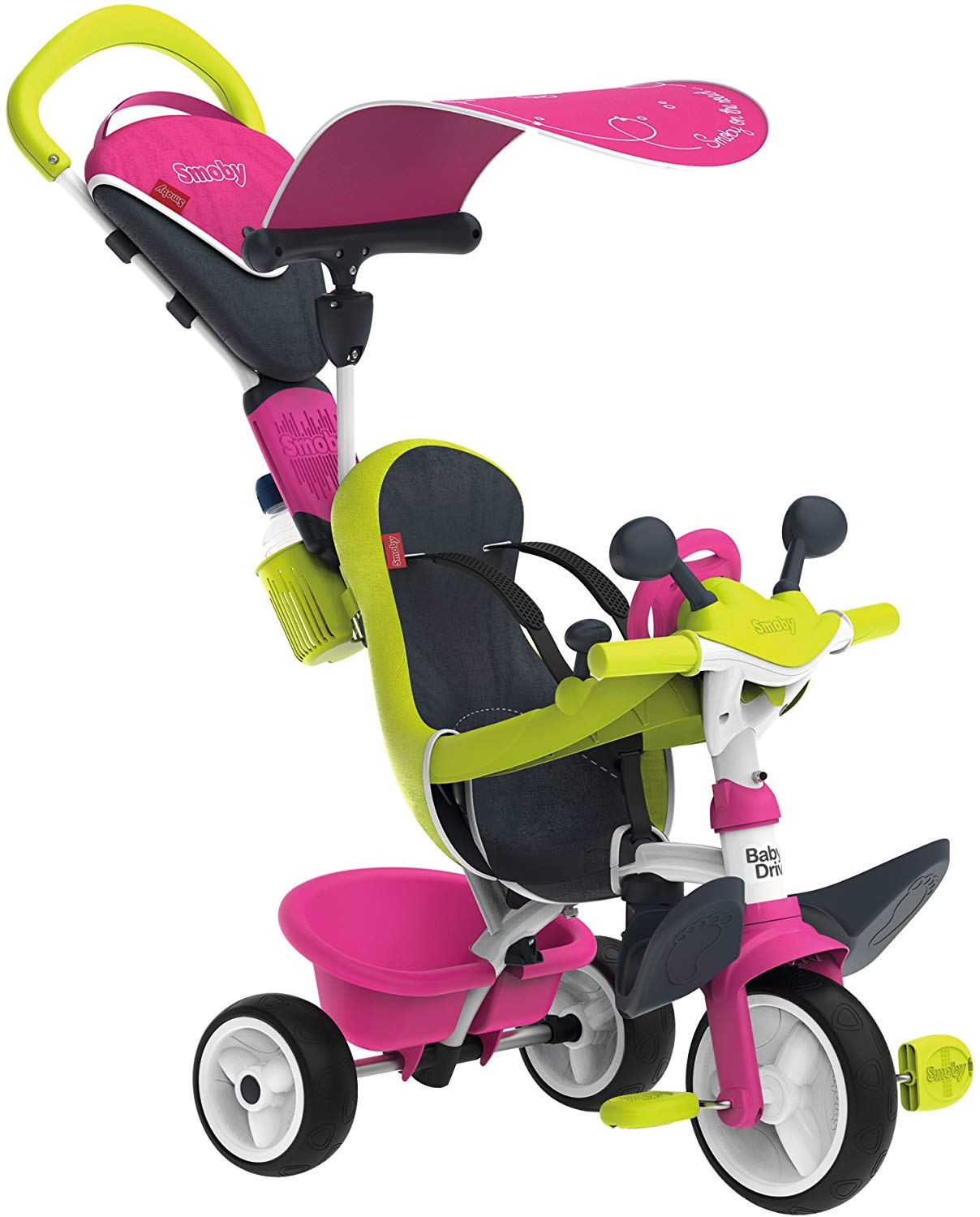 Smoby - 741201 - Tricycle Baby Driver Confort 2 - Tricycle Evolutif - Roues Silencieuses - Dispositif Roue Libre + Verrouillage Guidon - Rose
